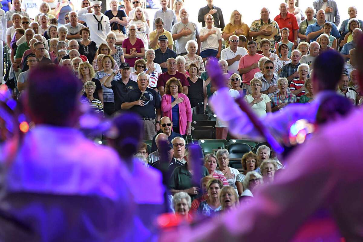 The Navy Band Northeast Ceremonial Band performs a concert highlighting musical selections meant to inspire patriotism during a free Labor Day concert at Saratoga Performing Arts Center on Monday, Sept. 5, 2016 in Saratoga Springs, N.Y. (Lori Van Buren / Times Union)