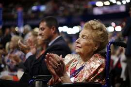 Missouri delegate Phyllis Schlafly watches during the second day session of the Republican National Convention in Cleveland, Tuesday, July 19, 2016. (AP Photo/Matt Rourke)
