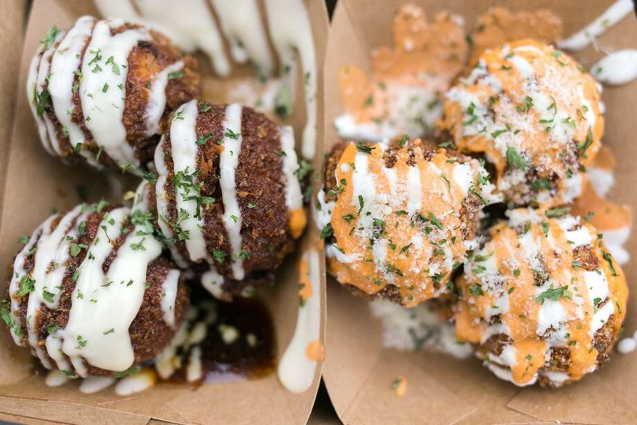 Tofu (left) and kimchi balls from Kokio Republic in S.F. Photo: Jen Fedrizzi, Special To The Chronicle