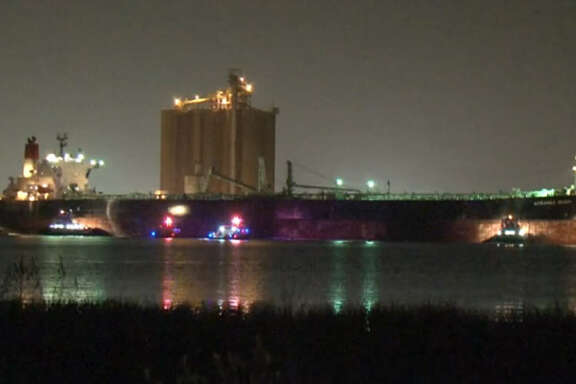 A fire aboard a tanker ship and a fuel spill from the  vessel about 12:10 a.m. Tuesday, Sept. 6, 2016, forced officials to block portions of the Houston Ship Channel and shut down ferry operations between Galveston Island and Bolivar Peninsula. (Metro Video)
