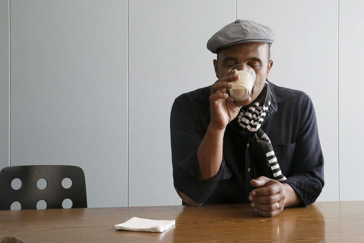 Red Bay coffee owner Keba Konte from Oakland does a taste test of Coffiest, a plant- based caffeinated soy beverage providing a balanced nutritional breakfast, on Monday, August 29, 2016 in San Francisco, Calif.