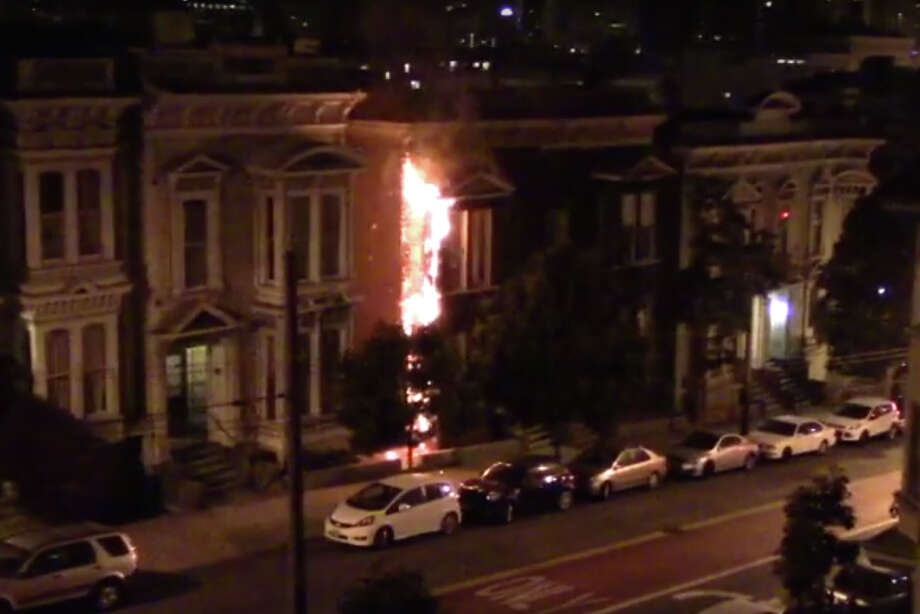 A fire Tuesday Sept. 6th 2016 scorched an  apartment building in San Francisco's Lower Haight neighborhood. Photo: Courtesy John Han