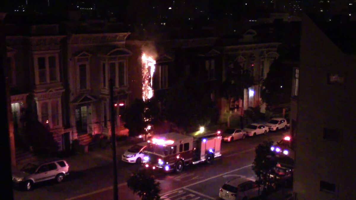 A fire Tuesday Sept. 6th 2016 scorched an apartment building in San Francisco's Lower Haight neighborhood.