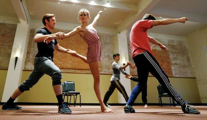 "Ballet San Antonio members Dan Westfield (from left), Andie Alshouse and Aidan Carrasquel rehearse with other cast members for the upcoming ""Las Fundaciones de Bejar, A Mythic Opera of the Foundings of San Antonio de Bejar."""