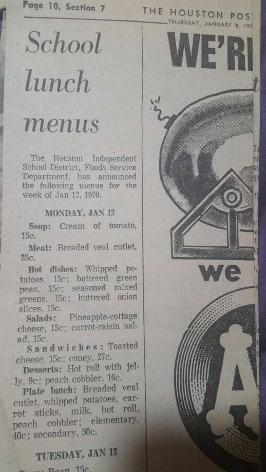 "Houston Redditor ""jeepersthejaguar"" posted a picture of a 1970s HISD school lunch menu in a Houston Post newspaper. Sept. 6, 2016. Photo: Houston Post"