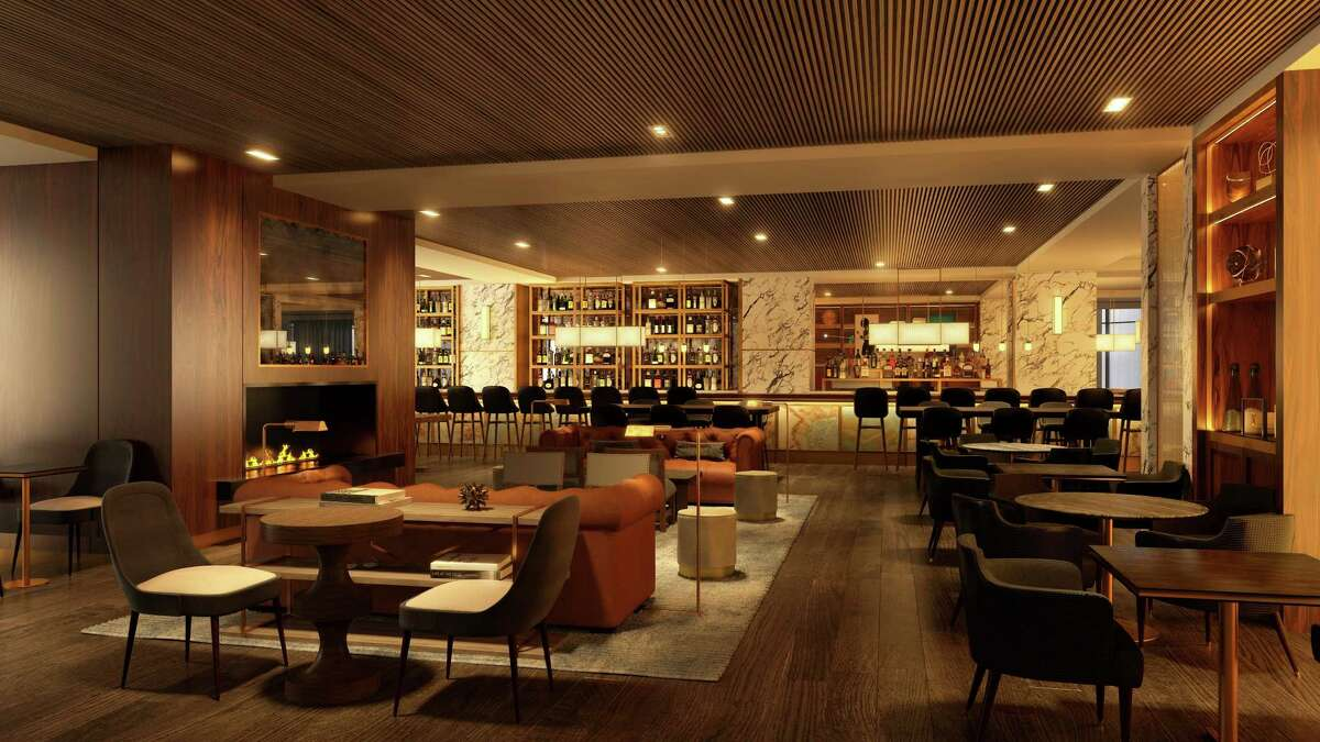 Renderings of the new Bayou & Bottle lobby bar and restaurant at the Four Seasons Hotel Houston.