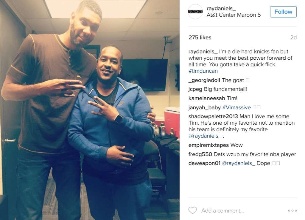 Photos tim duncan hung out backstage at a maroon 5 concert over the im a die hard knicks fan but when you meet the best power m4hsunfo