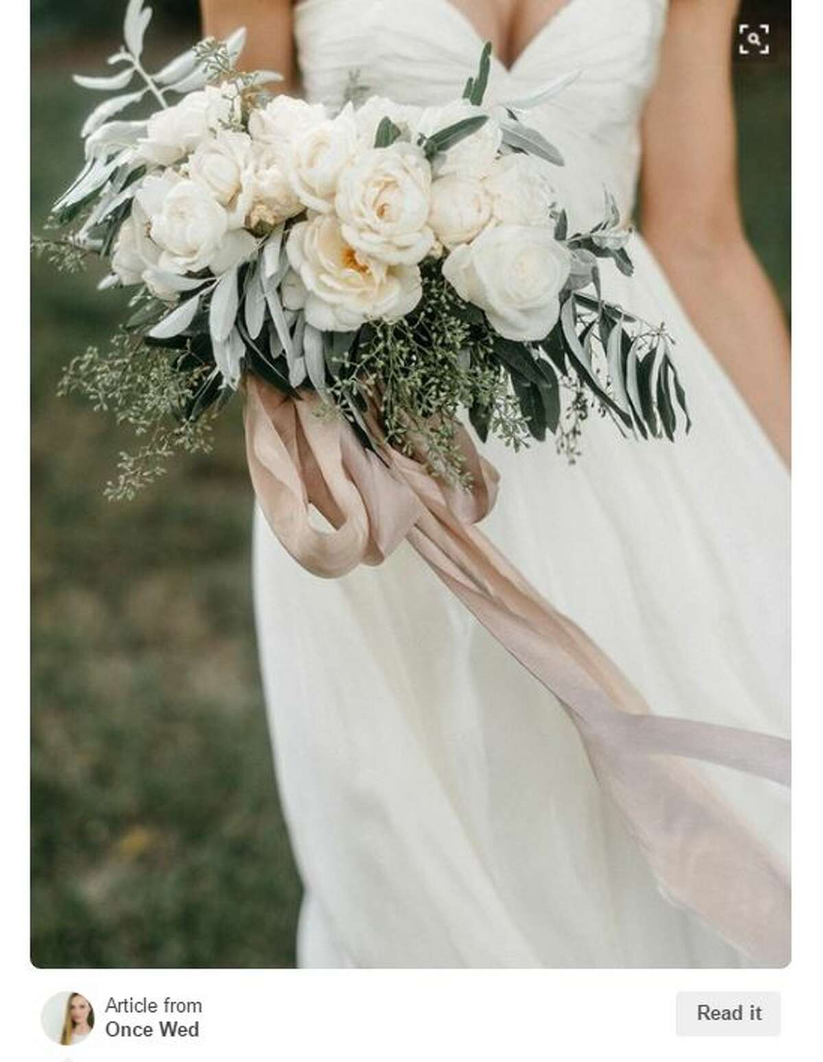 Neutral blooms, greenery, and flowing ribbon...swoon. Photo: Pinterest