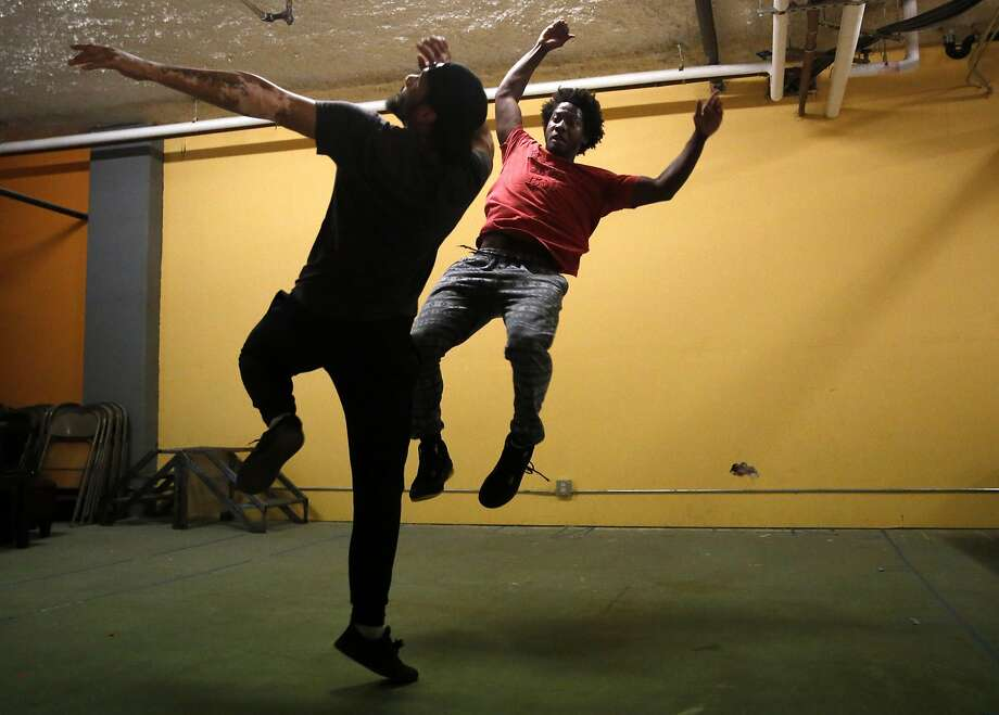 "Nican Robinson (right) and William H.P. dance during rehearsal of ""The Shipment."" Photo: Scott Strazzante, The Chronicle"