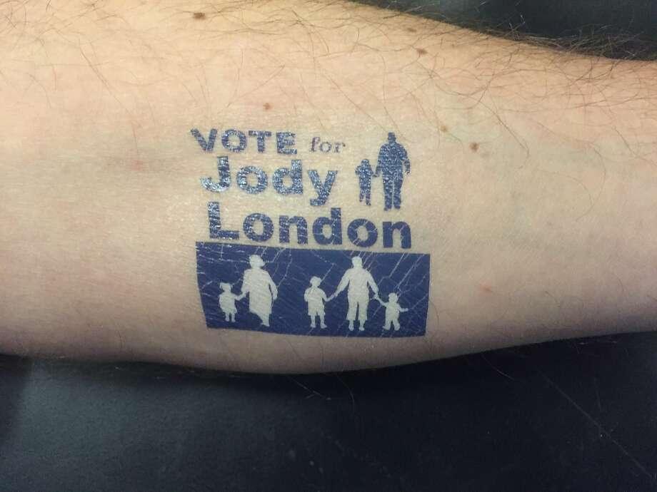 Swag for Jody London's Oakland school board re-election campaign. Photo: Mark Lundgren, San Francisco Chronicle