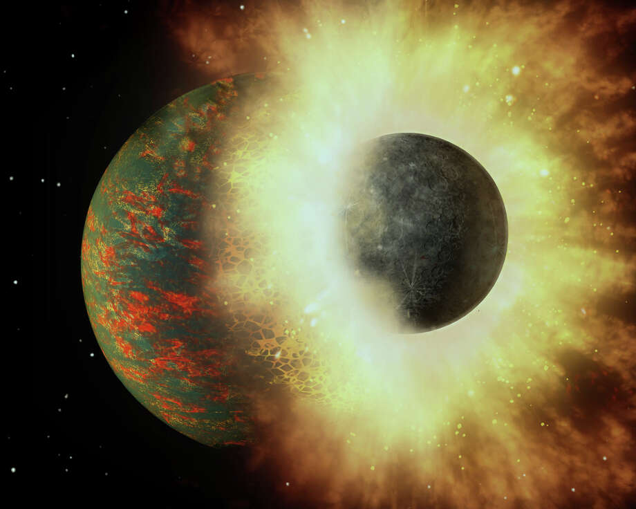 Planets collideThe ratio of volatile elements in Earth's mantle suggests that virtually all of the planet's life-giving carbon came from a collision with an embryonic planet approximately 100 million years after Earth formed. Photo: A. Passwaters/Rice University Based On Original Courtesy Of NASA/JPL-Caltech - See More At: Http://news.rice.edu/2016/09/05/study-earths-carbon-points-to-planetary-smashup/#sthash.SYuMlfzb.dpuf