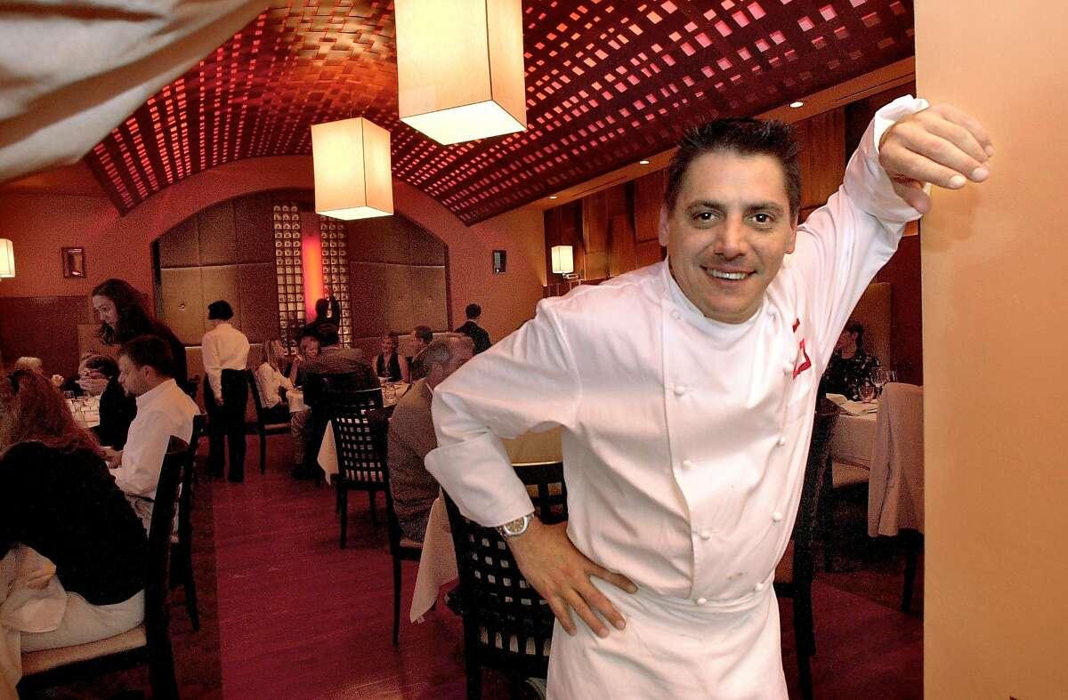 WHATS21014_rad.jpg Chef George Morrone at his new restaurant Tartare, 550 Washington St. in San Francisco. Katy Raddatz / The Chronicle Ran on: 07-21-2004 George Morrone at the opening of Tartare, his new hot spot in San Franciscos Financial District.