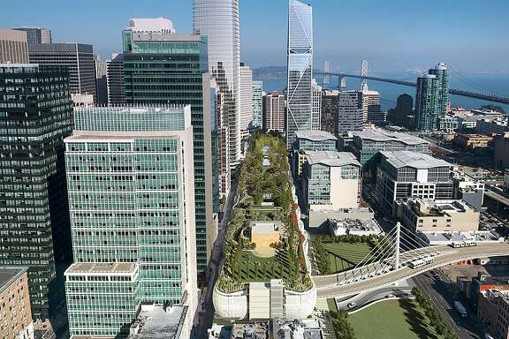 """Artist rendering of completed Transbay Transit Center with new """"mini-bridge"""" and roadway connecting to the Bay Bridge."""