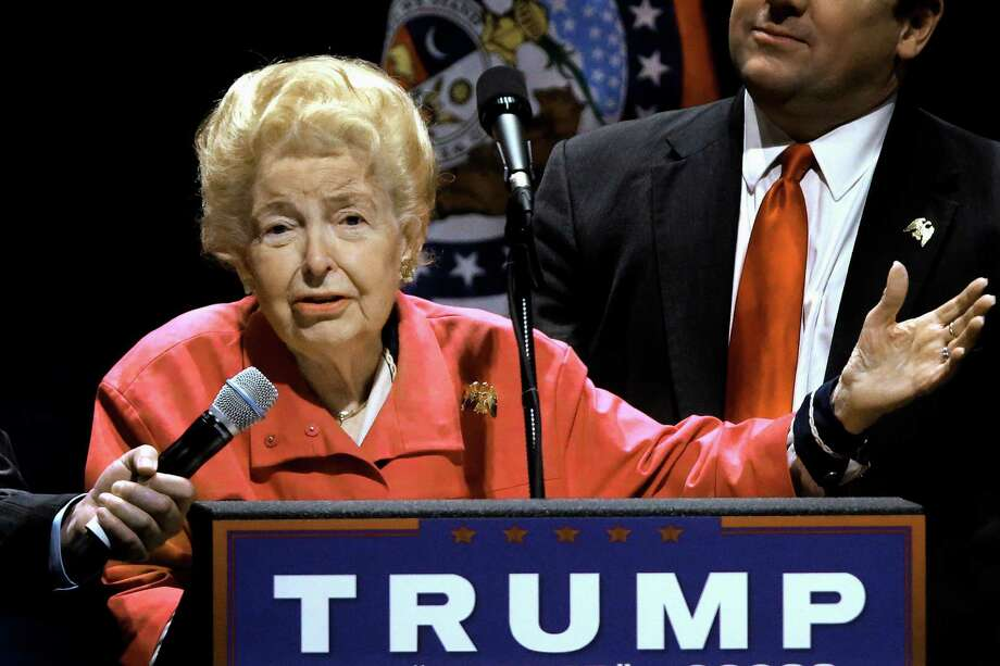 FILE In this March 11, 2016 file photo, longtime conservative activist Phyllis Schlafly endorses Republican presidential candidate Donald Trump before Trump begins speaking at a campaign rally in St. Louis. Schlafly, who helped defeat the Equal Rights Amendment in the 1970s and founded the Eagle Forum political group, has died at age 92. The Eagle Forum announced her death in a statement Monday, Sept. 5, 2016. (AP Photo/Seth Perlman, file) Photo: Seth Perlman, STF