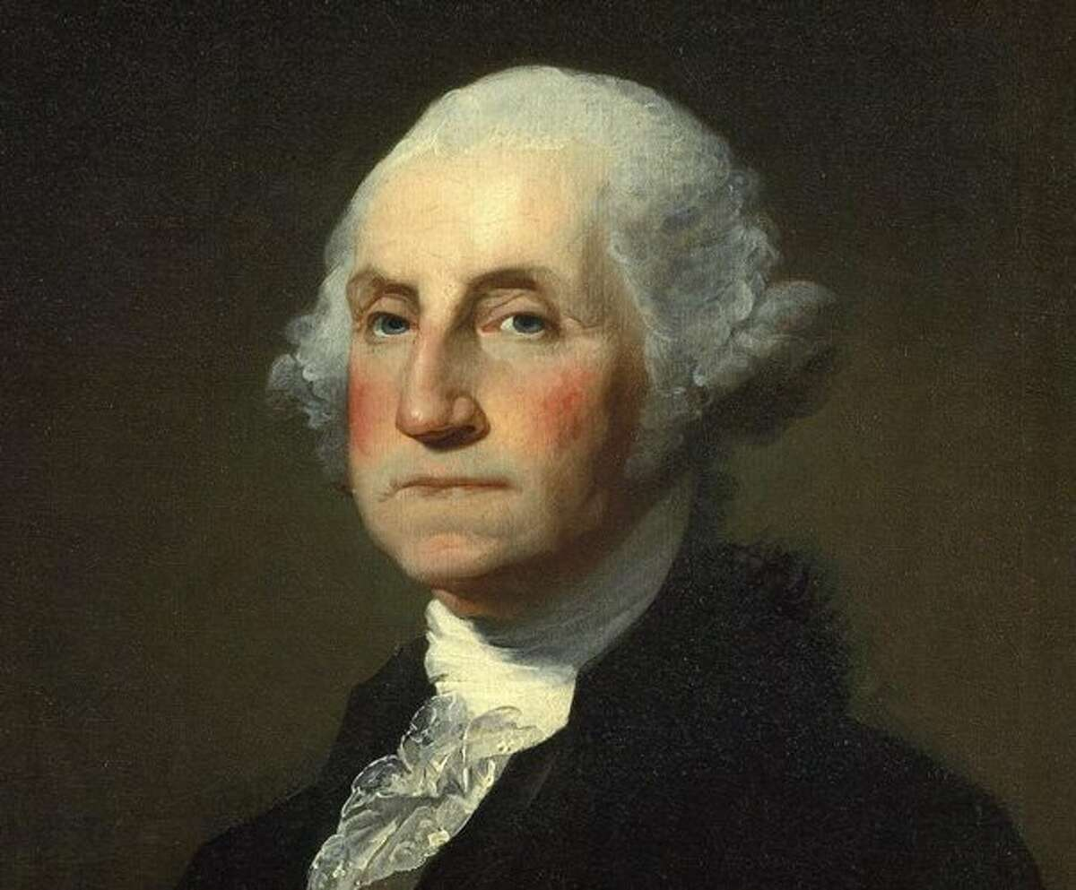 A portrait of George Washington by the painter Gilbert Stuart. The nation's first president records a visit to southwestern Connecticut in 1789, and states that he dined and lodged in Fairfield. What he ate, however, remains a mystery.