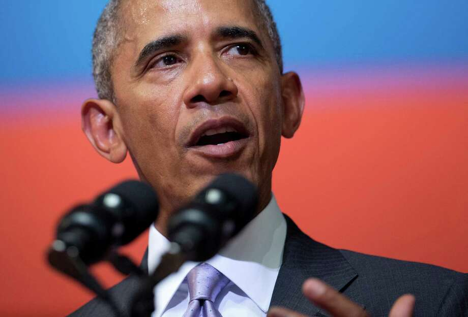 U.S. President Barack Obama speaks at the Lao National Cultural Hall in Vientiane, Laos, Tuesday, Sept. 6, 2016. (AP Photo/Carolyn Kaster) Photo: Carolyn Kaster, STF / Copyright 2016 The Associated Press. All rights reserved.