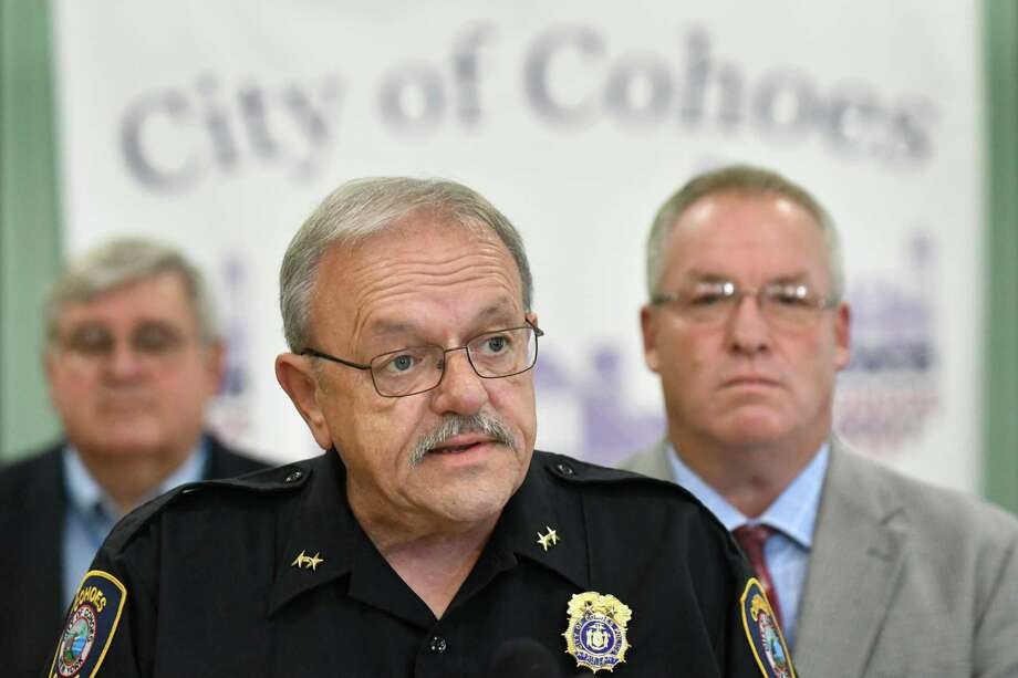 Asst. Police Chief Tom Ross, center, speaks during a news conference on June 16th on Tuesday, Sept. 6, 2016, at City Hall in Cohoes, N.Y. Joining him are President of the Common Council Chris Briggs, left and Mayor Shawn Morse. They addressed the findings and conclusion of the investigation regarding the fatal pedestrian accident that occurred on June 16th. (Cindy Schultz / Times Union) Photo: Cindy Schultz / Albany Times Union