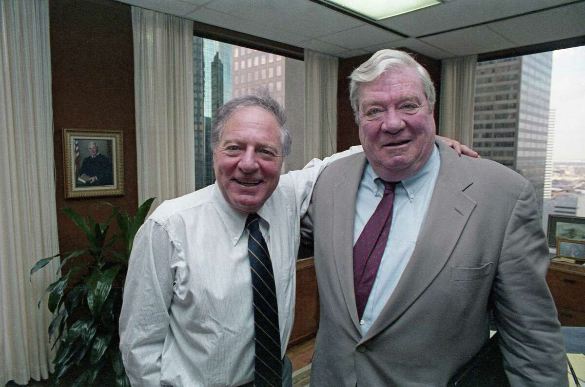 Attorney Joe Jamail and Pennzoil chairman J. Hugh Liedtke wore billion-dollar smiles after an appeals court upheld an $10.53 billion jury award to Pennzoil against Texaco. Jamail's strategy during the trial was to transform a complicated and boring contract dispute into a sweeping morality play, he would later say, and to