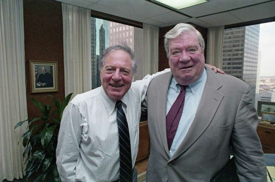 "Attorney Joe Jamail and Pennzoil chairman J. Hugh Liedtke wore billion-dollar smiles after an appeals court upheld an $10.53 billion jury award to Pennzoil against Texaco. Jamail's strategy during the trial was to transform a complicated and boring contract dispute into a sweeping morality play, he would later say, and to ""keep it simple."" Photo: Steve Ueckert, HC Staff / Houston Chronicle"