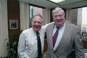 """Attorney Joe Jamail and Pennzoil chairman J. Hugh Liedtke wore billion-dollar smiles after an appeals court upheld an $10.53 billion jury award to Pennzoil against Texaco. Jamail's strategy during the trial was to transform a complicated and boring contract dispute into a sweeping morality play, he would later say, and to """"keep it simple."""""""