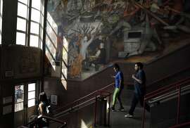 Murals depicting the life of the first president, including his slave ownership, adorn the entry at George Washington High School in San Francisco, Calif., on Tuesday, September 6, 2016. San Francisco School Board President Matt Haney has proposed renaming the school as part of a measure to remove slave-owners' names from public schools in the city.