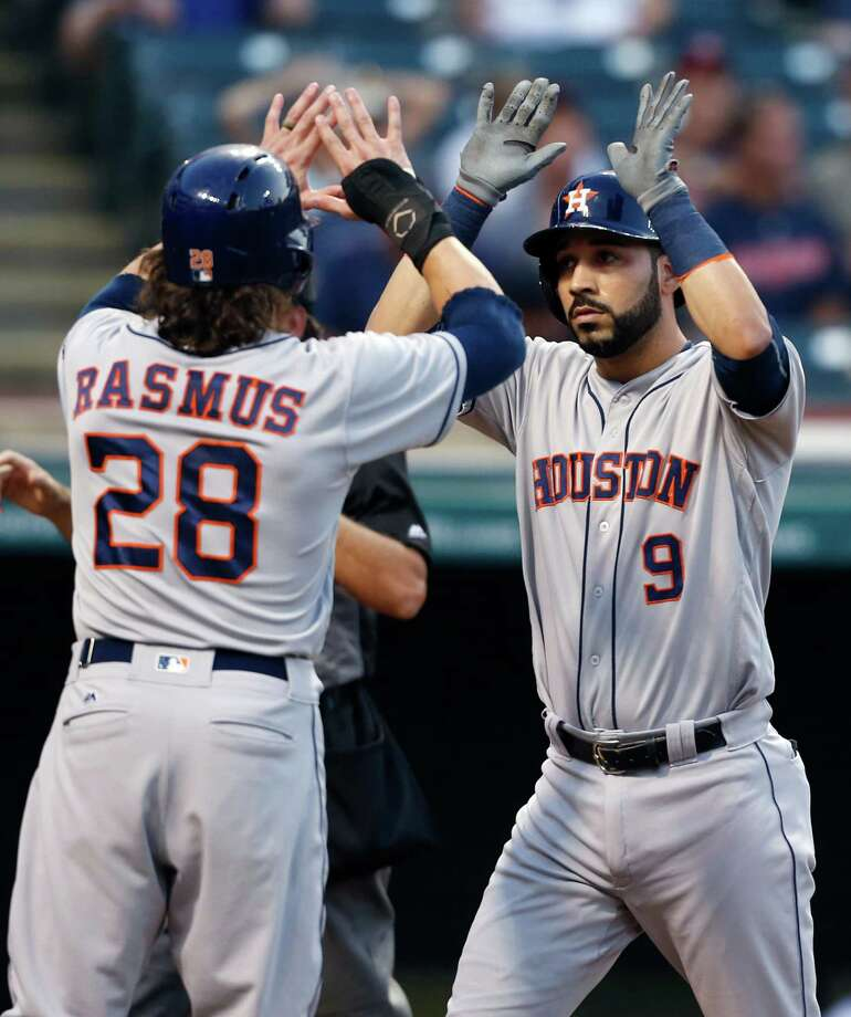 Houston Astros' Marwin Gonzalez (9) gets congratulations from Colby Rasmus after hitting a three run home run off Cleveland Indians starting pitcher Corey Kluber during the second inning of a baseball game Tuesday, Sept. 6, 2016, in Cleveland. (AP Photo/Ron Schwane) Photo: Ron Schwane, Associated Press / AP 2016