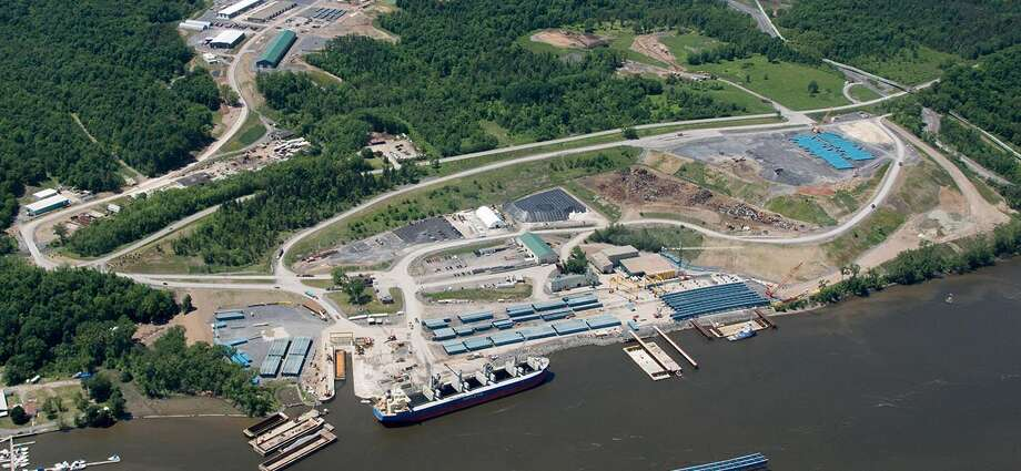 A ariel view of the Port of Coeymans on the Hudson River, along with the Coeymans Industrial Park, top left. Both sites are owned by Altamont builder Carver Laraway.   Source: Port of Coeymans / Michael Townsend / Flight Worx, LLC