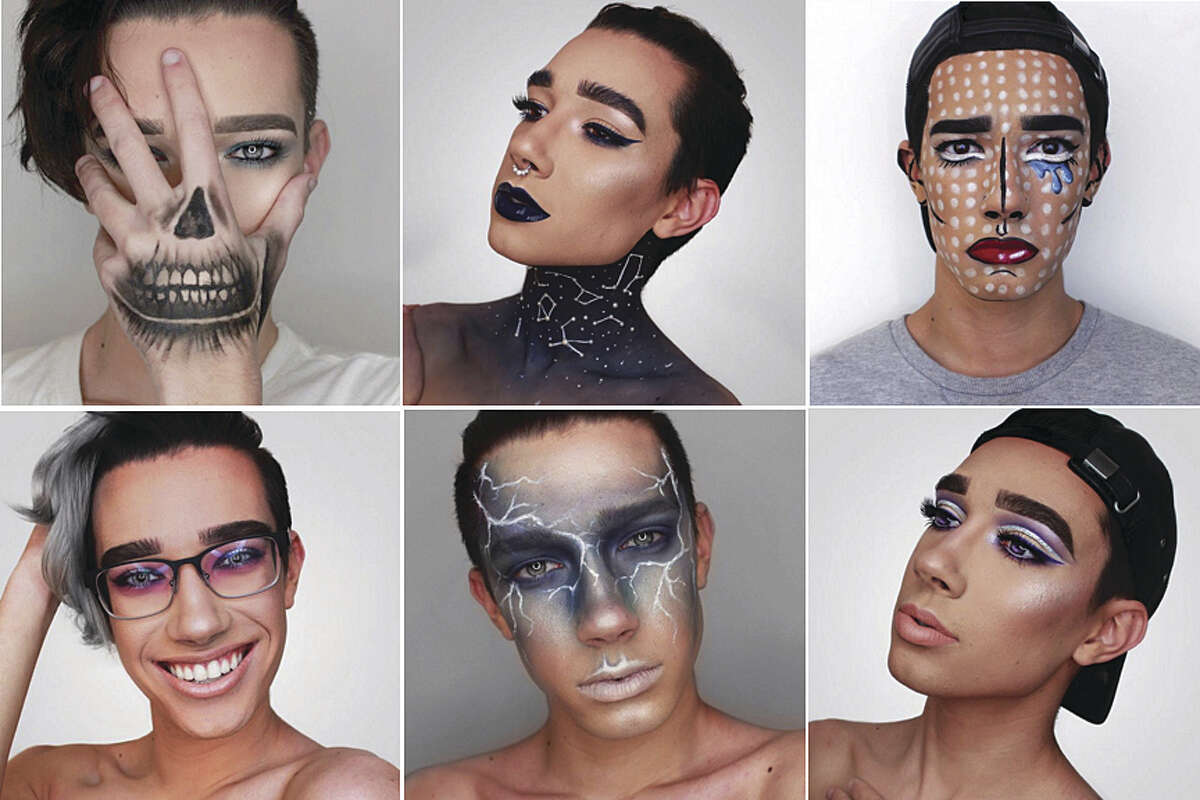 James Charles Dickinson's makeup and hairstyle Instagram posts.