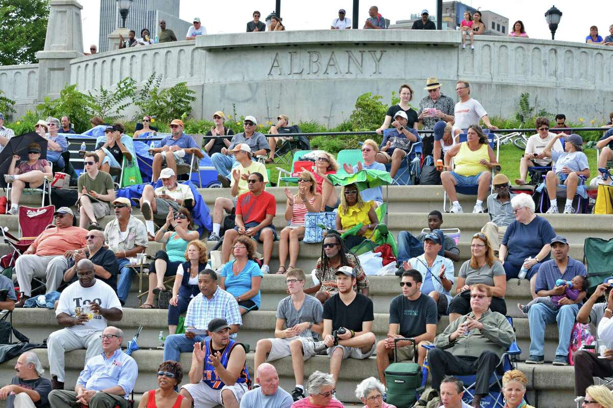Crowds at Albany's Riverfront Park applaud performers during the 11th Annual Albany Riverfront Jazz Festival at the Corning Preserve Saturday Sept. 8, 2012. (John Carl D'Annibale / Times Union)