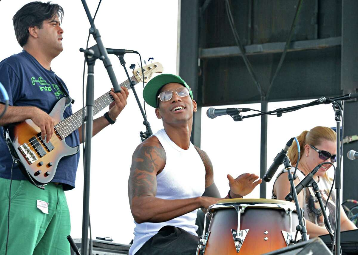 NYC Afro-Cuban stars the Pedrito Martinez Group performs during the 11th Annual Albany Riverfront Jazz Festival at the Corning Preserve in Albany's Riverfront Park Saturday Sept. 8, 2012. (John Carl D'Annibale / Times Union)