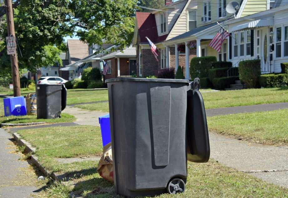 Trash cans in front of homes on Marwill Street after pick up Tuesday, Sept. 6, 2016, in Albany, N.Y.  (John Carl D'Annibale / Times Union) Photo: John Carl D'Annibale / 20037904A
