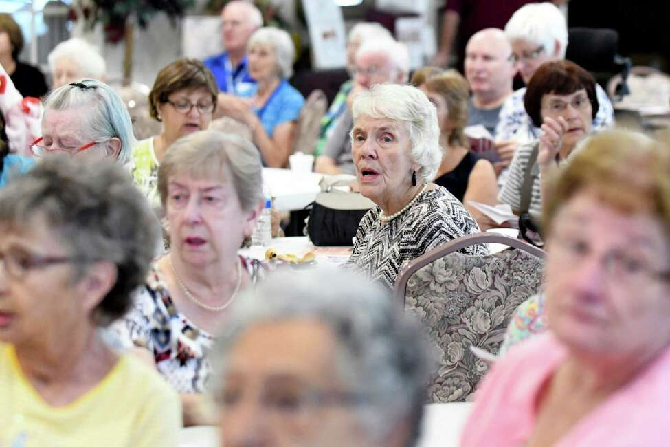 Seniors join in singing during the 15th annual Remember Those Who Keep Us Safe program on Wednesday, Sept. 7, 2016, at the Beltrone Living Center in Colonie, N.Y. The Colonie Senior Service Centers hosted the recognition program to thank the Town of Colonie?'s first responders. (Cindy Schultz / Times Union)