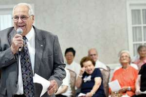 Village of Colonie Mayor Frank Leak, left, speaks during the 15th annual Remember Those Who Keep Us Safe program on Wednesday, Sept. 7, 2016, at the Beltrone Living Center in Colonie, N.Y. The Colonie Senior Service Centers hosted the recognition program to thank the Town of Colonie's first responders. (Cindy Schultz / Times Union)