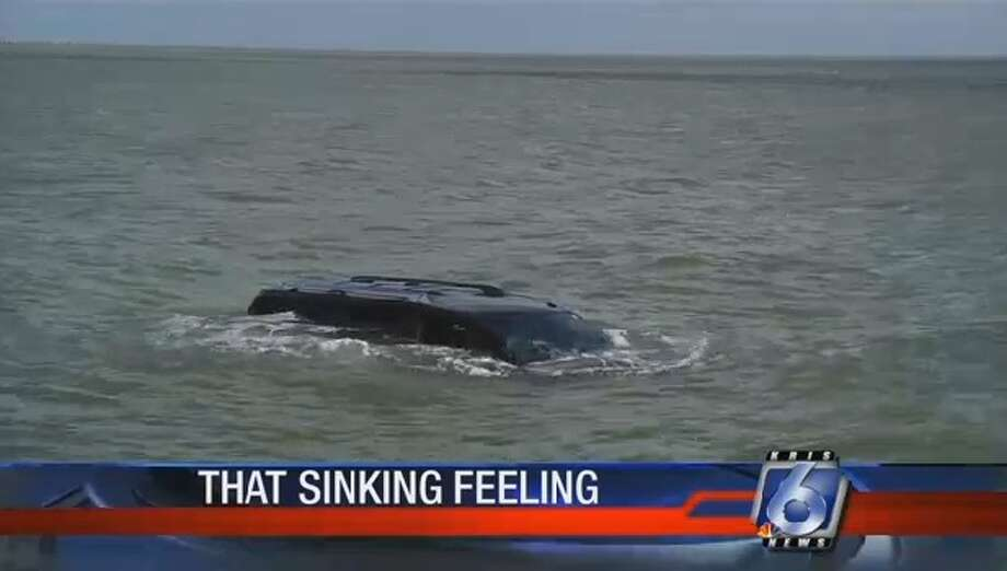 According to KRISTV, an unnamed woman accidentally sent her car into the Corpus Christi Bay on Sept. 5, 2016 when a mouse brushed against her leg while she was pulling out of a parking space near Swanter Park. Photo: KRISTV