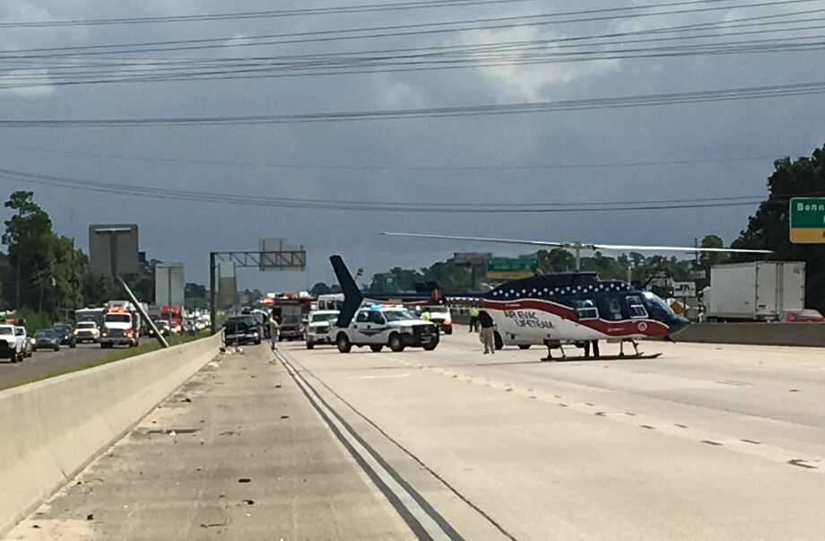 A medical helicopter is at the scene of a multi-vehicle crash on Interstate 10 westbound near Rose City on Sept. 7, 2016. (Photo: Sara Flores/The Enterprise) Photo: Sara Flores/ The Enterprise