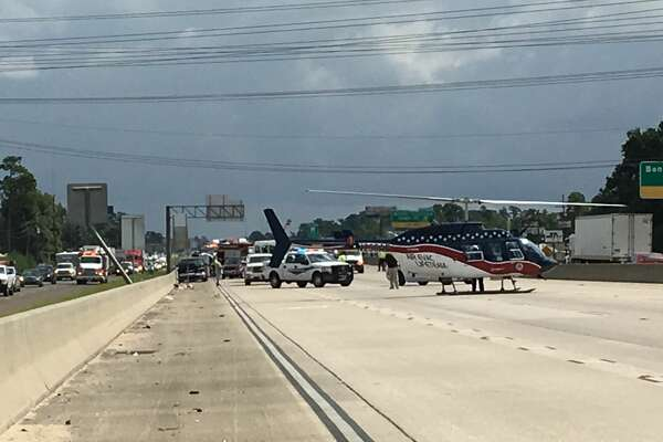 A medical helicopter is at the scene of a multi-vehicle crash on Interstate 10 westbound near Rose City on Sept. 7, 2016. (Photo: Sara Flores/The Enterprise)