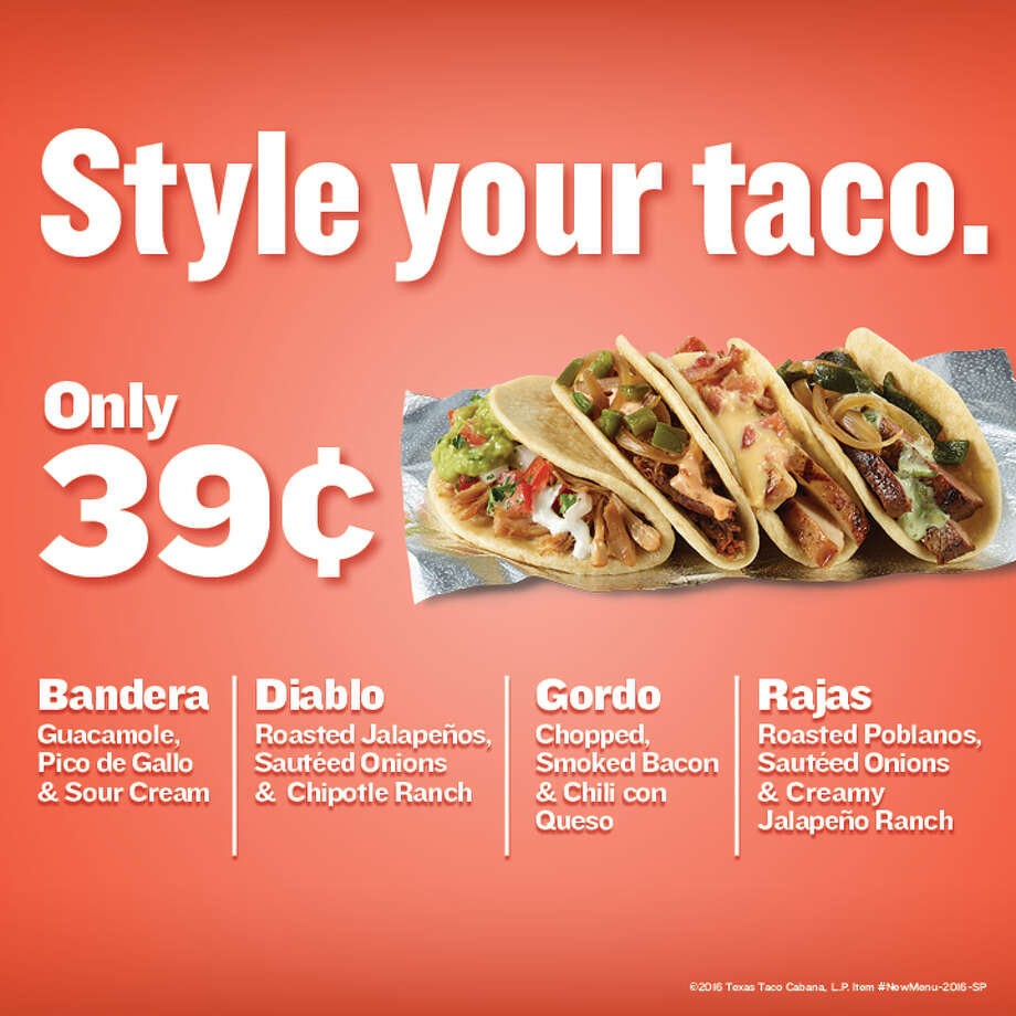 Until Sept. 18, customers at the Taco Cabana locations at 4622 Rittiman Road on the city's Northeast Side and 602 W. Loop 1604 North on the city's Far West Side can try one of four styles that can be added to any taco for 39 cents. Photo: Taco Cabana
