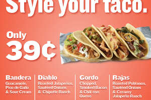 Until Sept. 18, customers at the Taco Cabana locations at 4622 Rittiman Road on the city's Northeast Side and 602 W. Loop 1604 North on the city's Far West Side can try one of four styles that can be added to any taco for 39 cents.