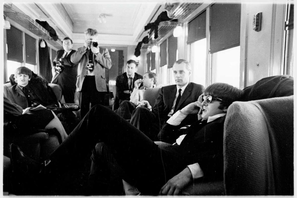 The Beatles on the train between Washington, D.C., and New York.