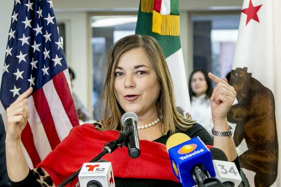 FILE - In this Jan. 15, 2015, file photo, US Congresswoman Loretta Sanchez, gestures during a visit to the Consul of Mexico in Santa Ana, Calif. California's U.S. Senate candidates pick up dueling endorsements that point to key battlefronts in the race between the fellow Democrats. Kamala Harris is backed by state Senate leader Kevin De Leon, a blow to Sanchez who has been trying to lock up Latino support, while Sanchez wins the backing of former Republican congressman Buck McKeon as she tries to lure GOP voters who have no candidate of their own her way. (AP Photo/Damian Dovarganes, File)