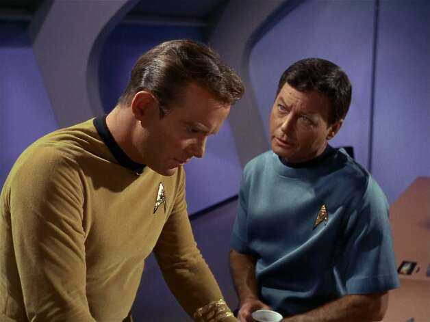 "Lt. Commander Leonard H. ""Bones"" McCoy, chief medical officer of the Enterprise, was portrayed by DeForest Kelly. Like Spock, McCoy is Capt. Kirk's confidant. He frequently bristles at Spock's emotionless logic, and the antagonism between the two often serves as comic relief. Photo: Getty Images, CBS Via Getty Images"