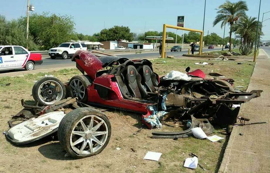 On Sept. 1, 2016 two men were headed to Monterrey when they lost control of their red Koenigsegg CCX, worth $1.4 million, which was damaged beyond repair. Photo: Courtesy/El Mañana