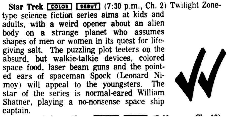 """Houston Chronicle mention of """"Star Trek,"""" Sept. 8, 1966."""