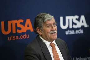 University President Ricardo Romo talks about his retirement during a news conference at the H-E-B University Center at the University of Texas at San Antonio in September 2016.