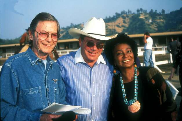"DeForest Kelley with William Shatner and Nichelle Nichols on Shatner's ranch in the late 1990s. Kelley found difficulty finding any non-Trek rolls after ""Star Trek."" He made most of his living going to Trek conventions until his death in 1999. Photo: Getty Images, WireImage"