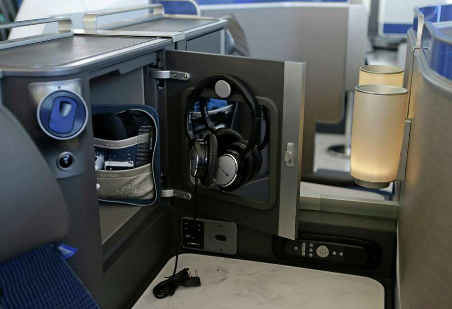 A display of amenities aircraft cabin seating for the new United Polaris business class service is shown at the George Bush Intercontinental Airport Wednesday, Sept. 7, 2016, in Houston.  ( Melissa Phillip / Houston Chronicle ) Photo: Melissa Phillip, Staff / © 2016 Houston Chronicle