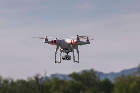 HEALDSBURG, CA - MARCH 30:  A Phantom drone equipped with a Go-Pro camera is a relatively new tool used to monitor vineyards from the air as viewed on March 30, 2015, near Healdsburg, California. Despite record breaking December rains, the weather pattern shifted back to warm, dry days, pushing most of California Wine Country into an early spring despite the severe drought conditions. (Photo by George Rose/Getty Images)