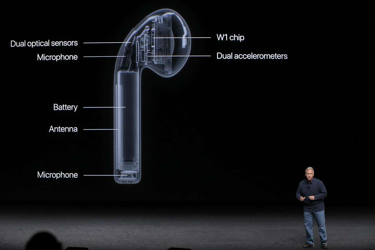 Apple Senior VP of worldwide marketing Phil Schiller describes the newest product, the AirPods during an Apple Event to announce new products at the Bill Graham Civic Auditorium in San Francisco, Calif., on Wednesday, September 7, 2016.
