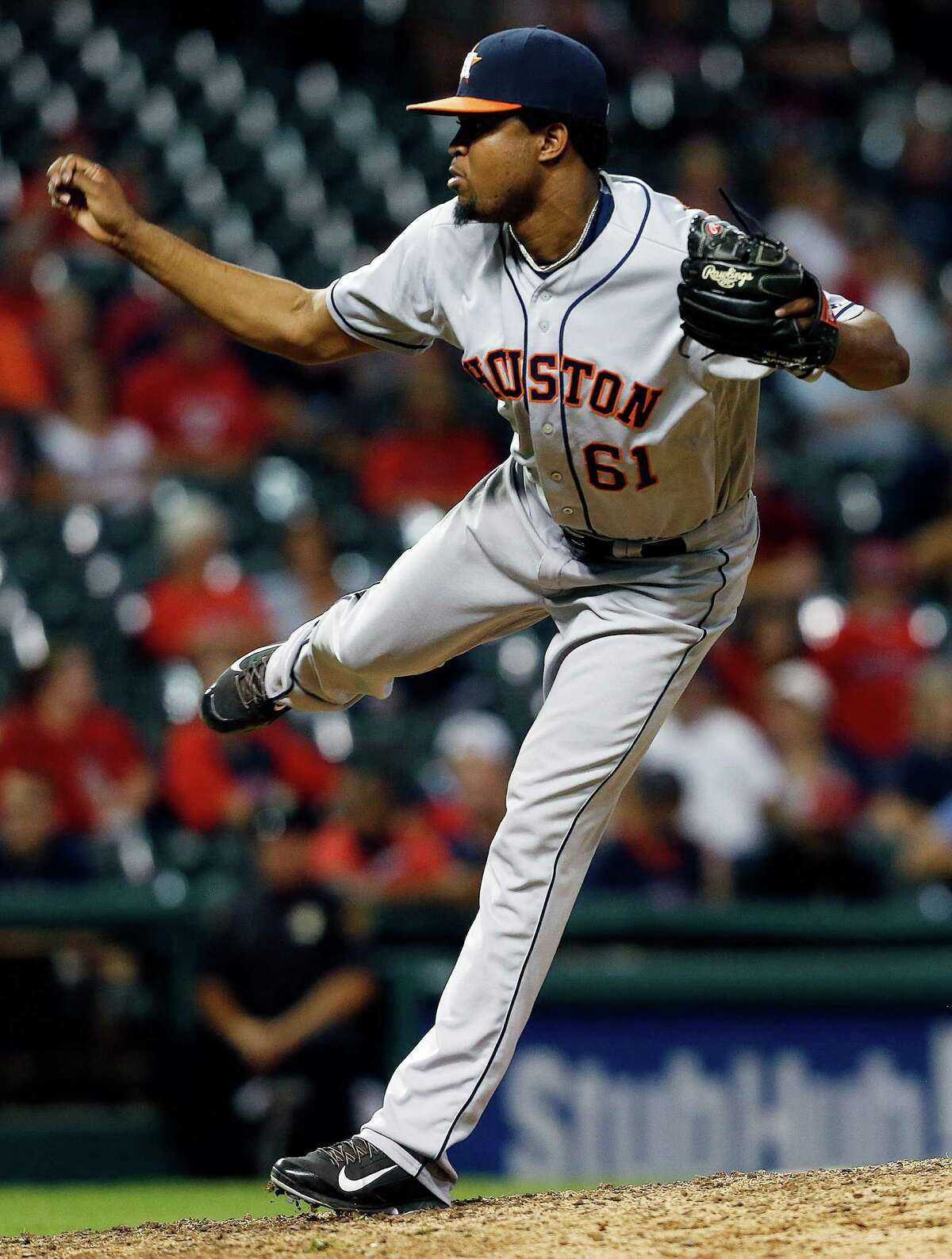 Houston Astros relief pitcher Jandel Gustave delivers against the Cleveland Indians during the ninth inning of a baseball game Monday, Sept. 5, 2016, in Cleveland. The Astros won 6-2. (AP Photo/Ron Schwane)