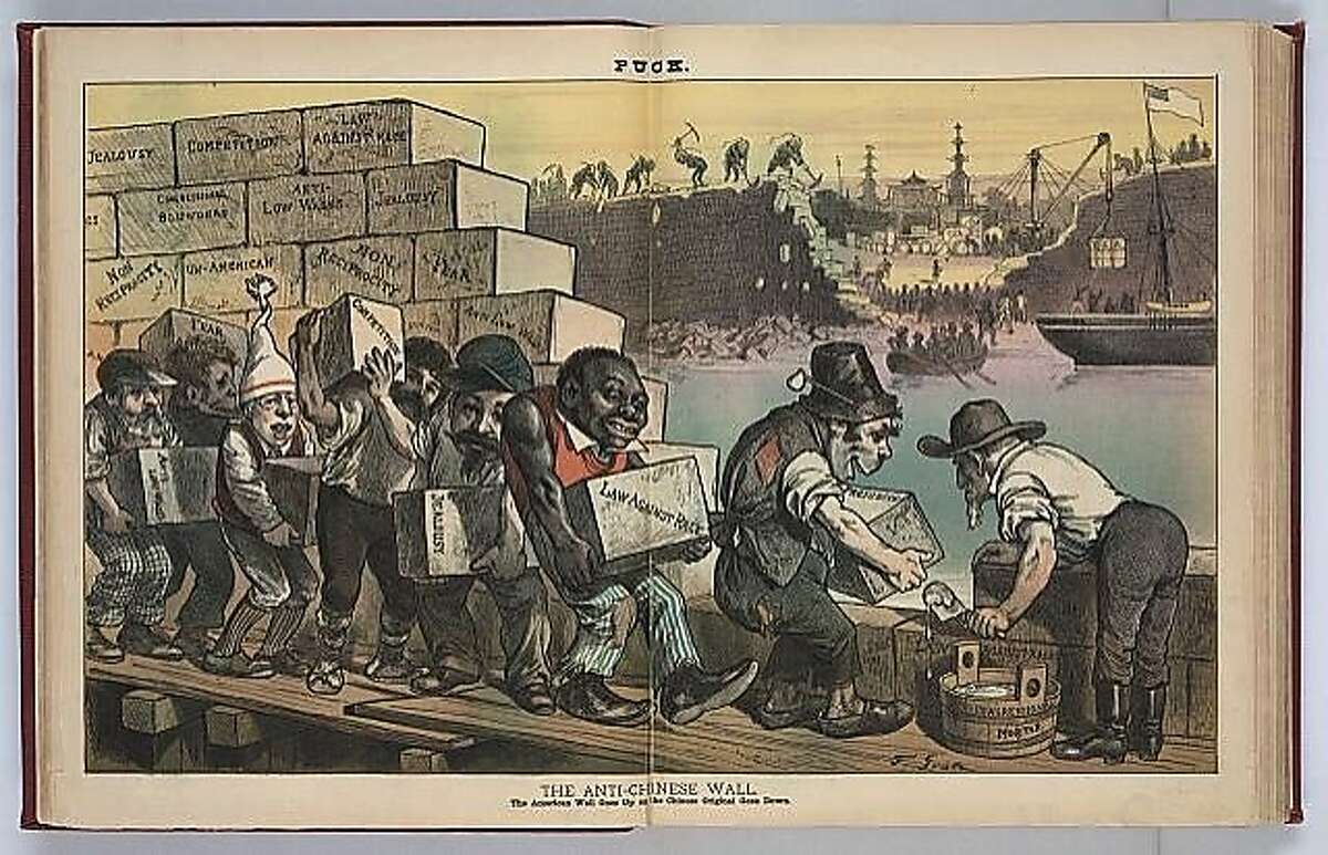 """Political cartoon from """"The Puck"""" in 1882. Caption reads: """"The Anti-Chinese Wall The American Wall Goes Up as the Chinese Original Goes Down."""" Courtesy of the Library of Congress."""